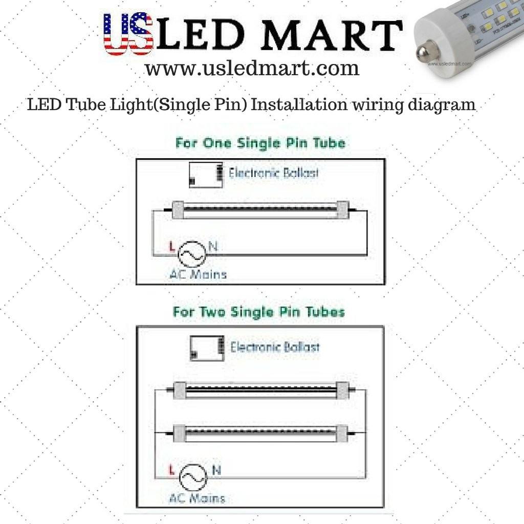 cnsunway 8ft 45 watt t8 led tube 96 fa8 single pin light bulb rh mediapickle me T8 LED Wiring T8 Tube Wiring Diagram