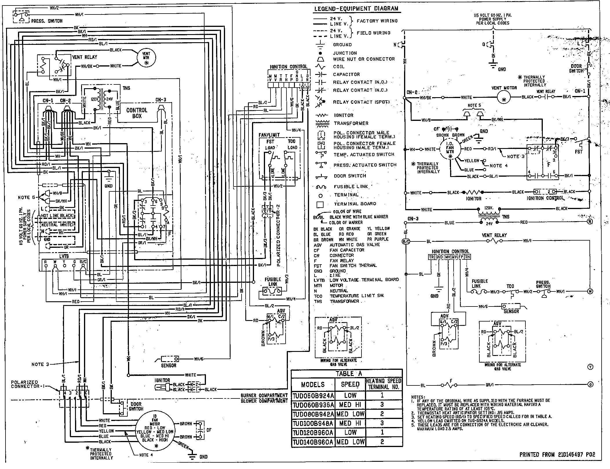 hvac wiring diagram for trane 1200 xl