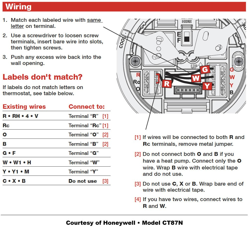 Honeywell Thermostat Wiring Instructions Diy House Help Endear