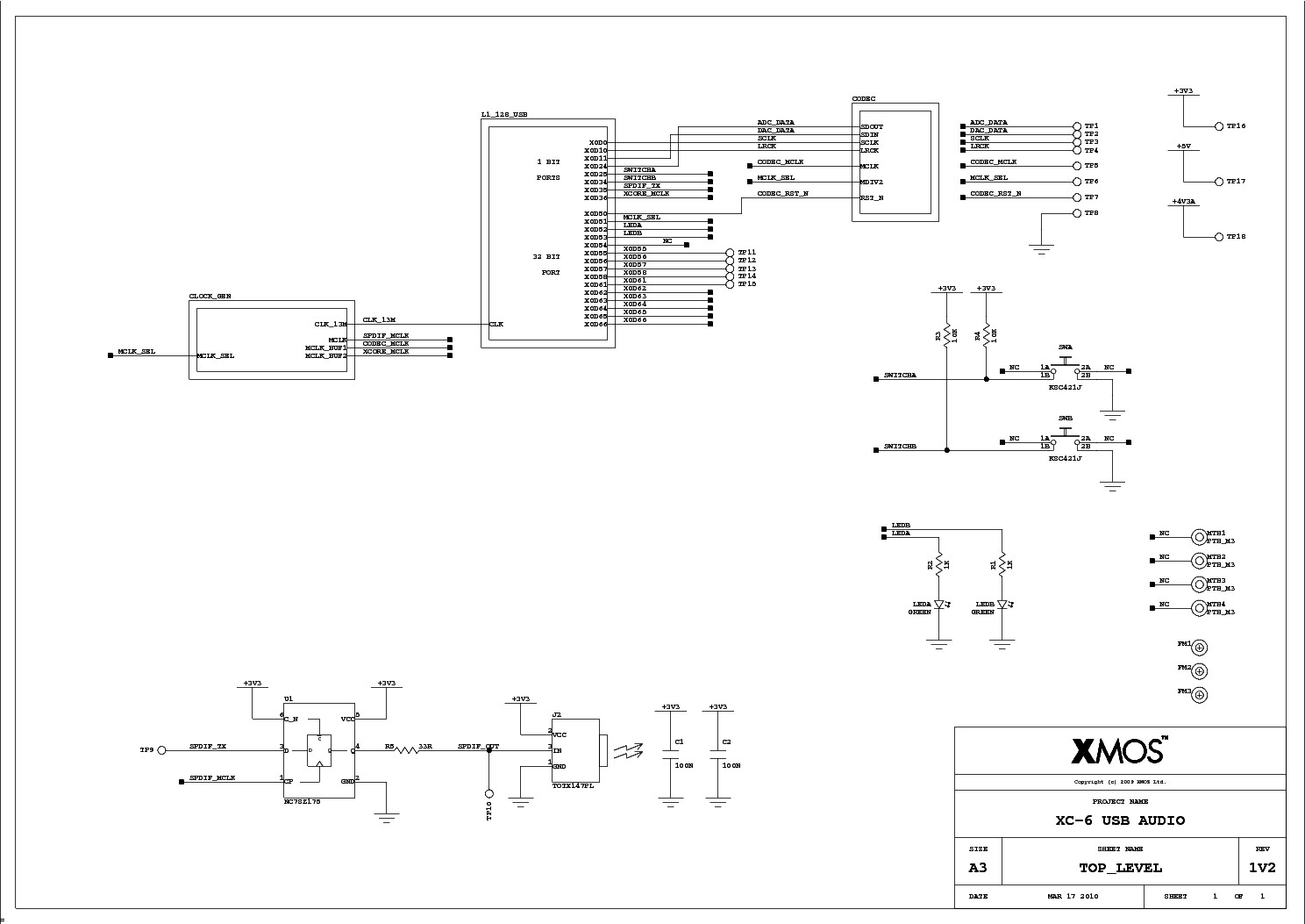 XMOS XC 6 USB AUDIO SCH REV1V2 service manual 1st page