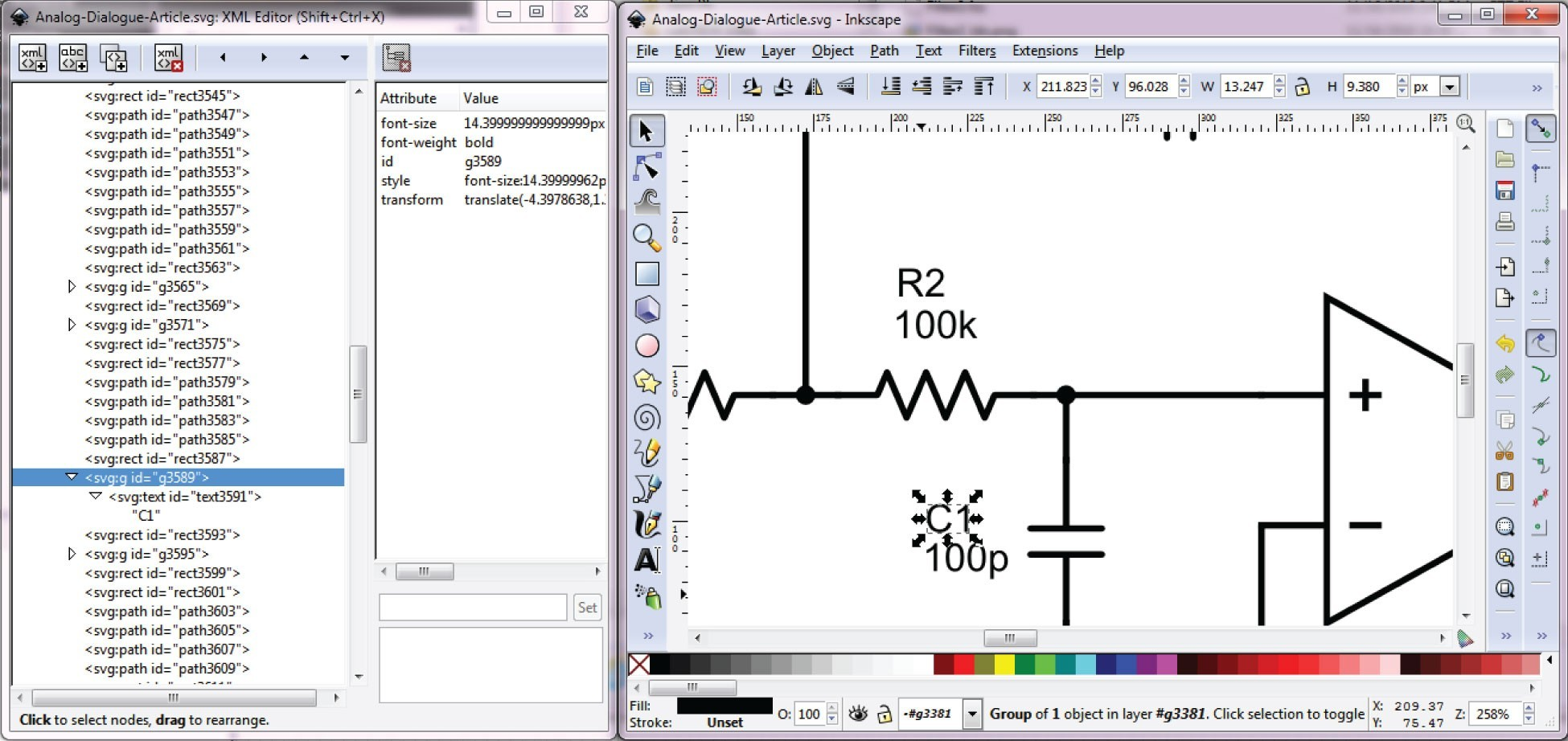 Schematic editing in the Inkscape tool