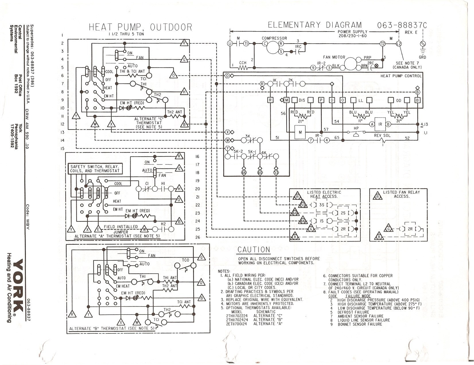 York Air Conditioner Wiring Diagram About Rv Furnace Ac Image Diagrams For