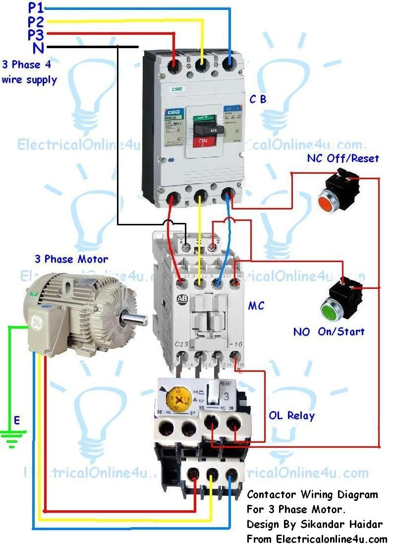 3 Phase Motor Starter Wiring Diagram Contactor Wiring Guide for 3 Phase Motor with Circuit