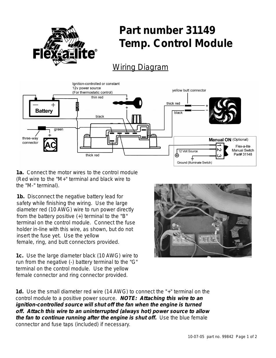 Flex A Lite Temp Control Module User Manual 2 Pages In Fan For