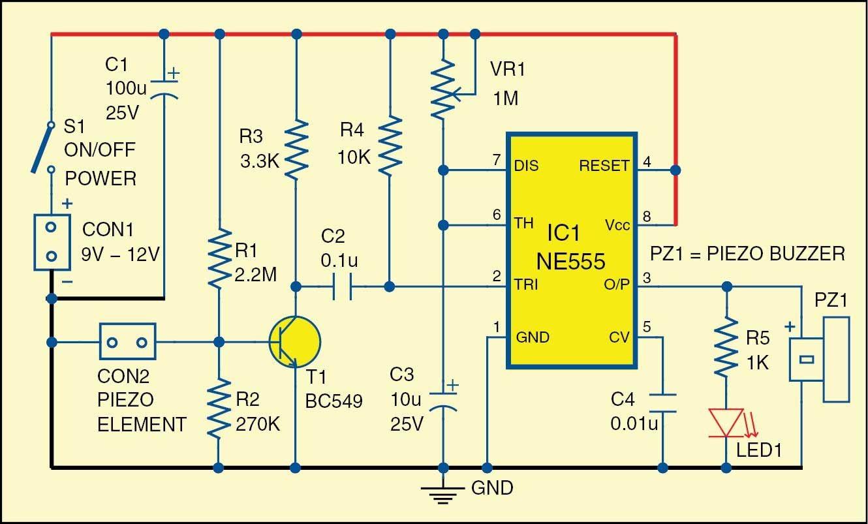 Fig 1 Circuit of the glass break alarm