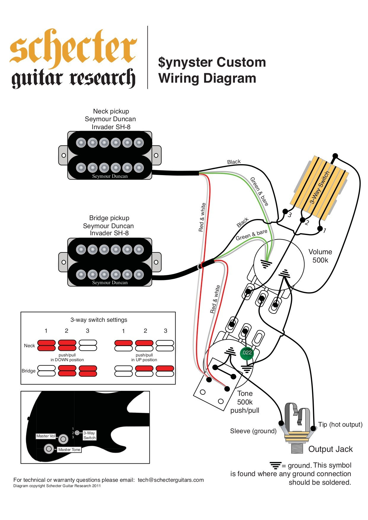 Schecter Guitar Wiring Diagrams Humbucker Diagram Custom New Manual For Synyster Gates Standard Best 1241x1755