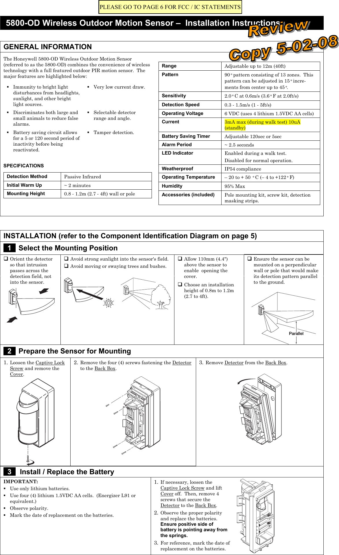 Wiring Diagram for Outdoor Security Light 2019 8dl5800pir Od Security Transmitter User Manual 5890 Od Wireless