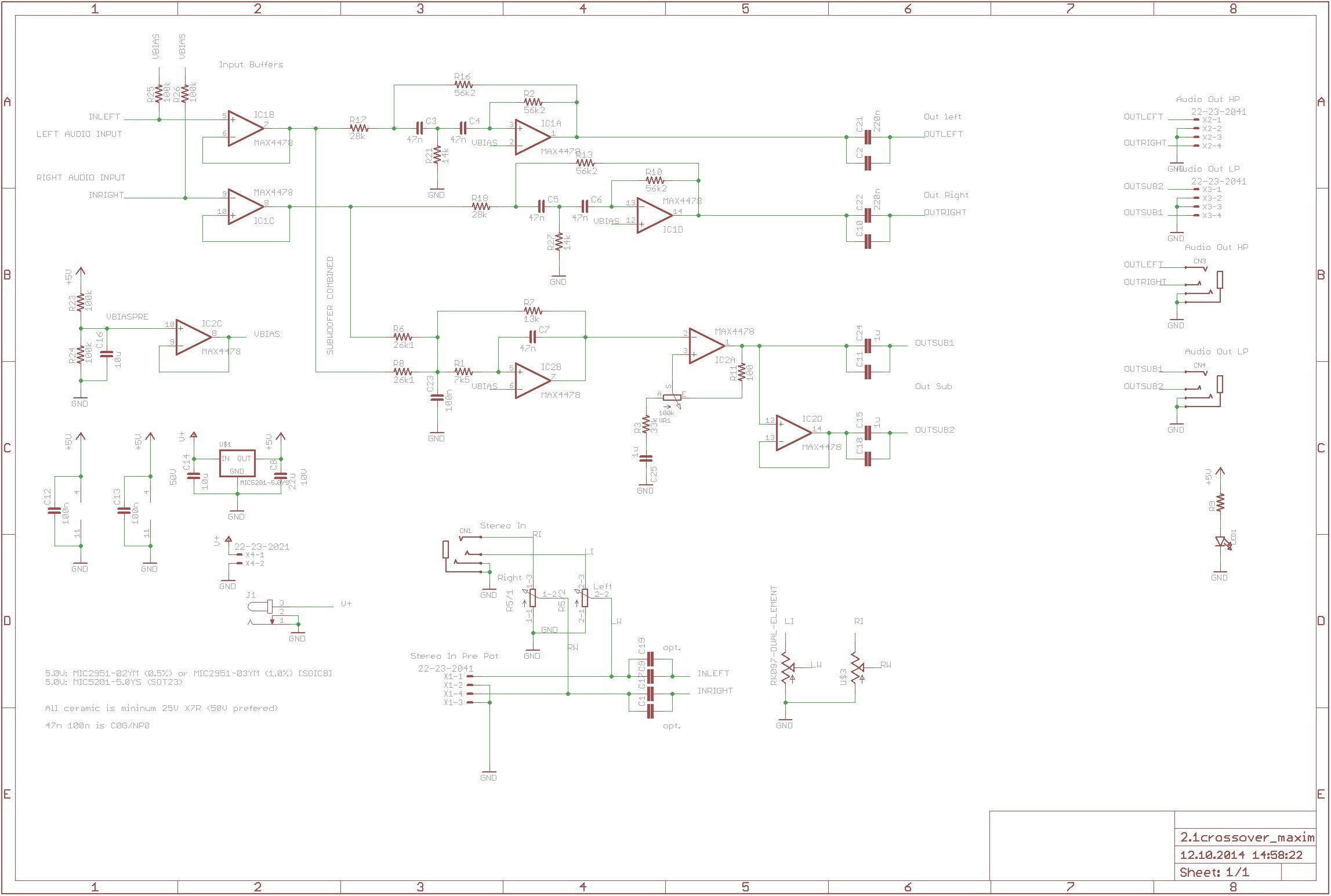 Speaker Crossover Wiring Diagram Aktive Crossoverfrequenzweiche Mit Max4478 360customs Crossover Schematic Rev 0d Wiring Lighting