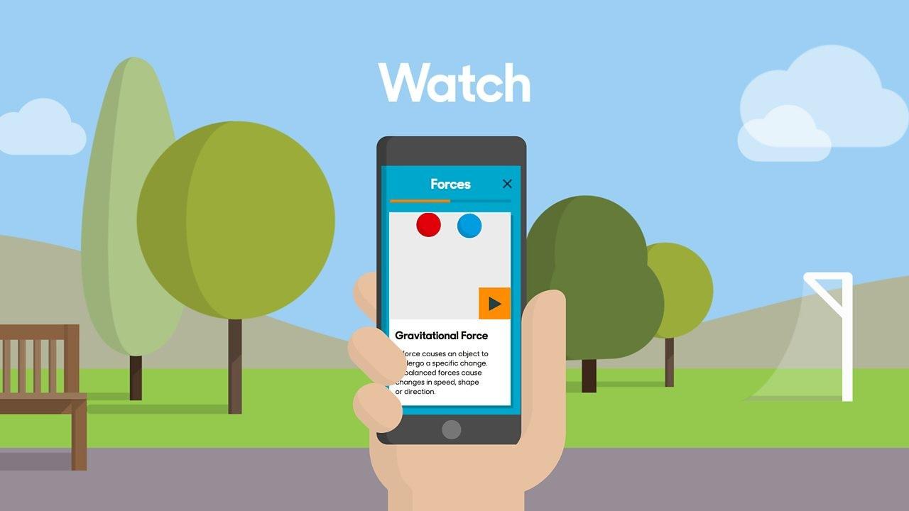 An animated image of the BBC Bitesize app on someone s phone