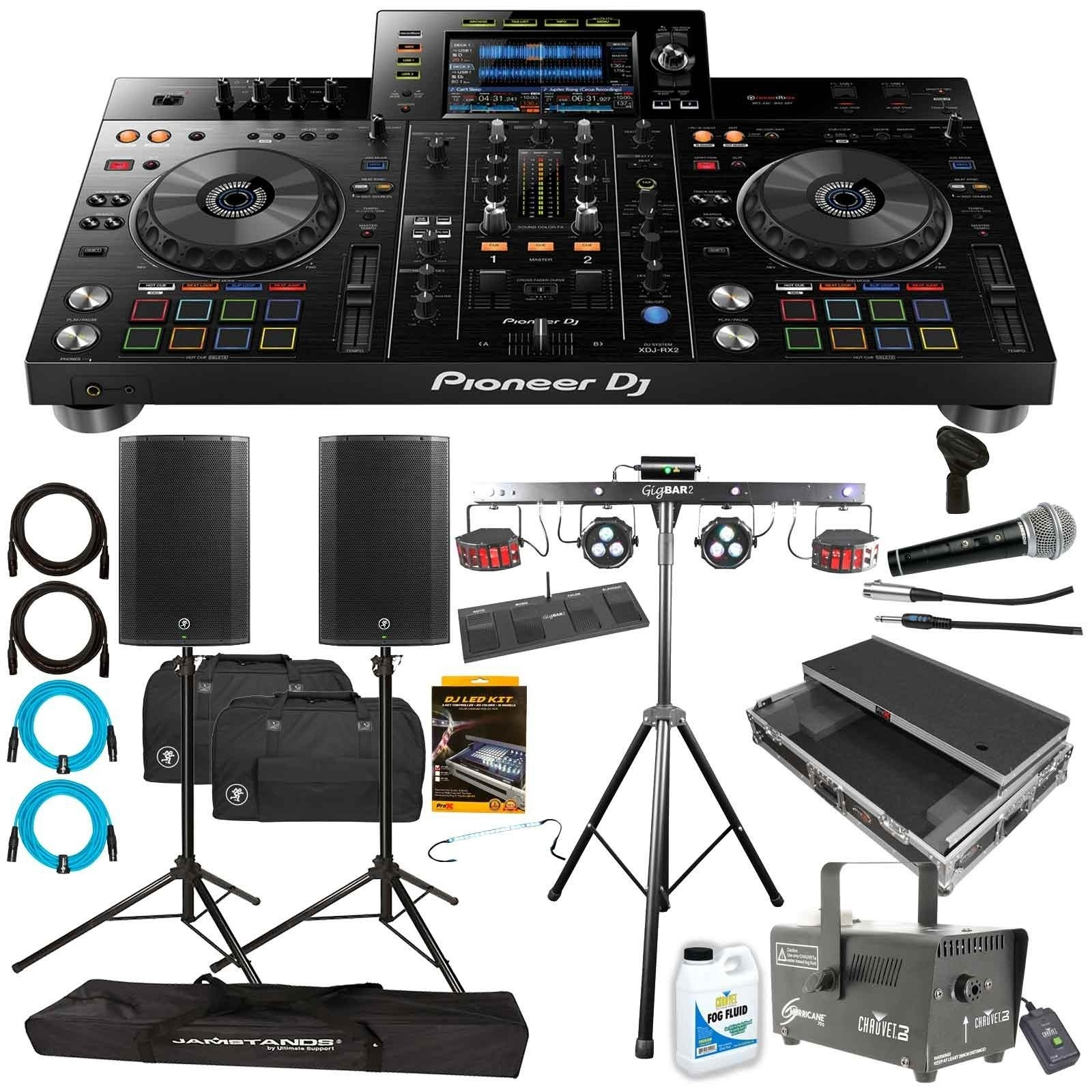 Pioneer DJ XDJ RX2 Rekordbox DJ System with Mackie Thump15A Speakers & Chauvet DJ GigBAR 2 Light System Package