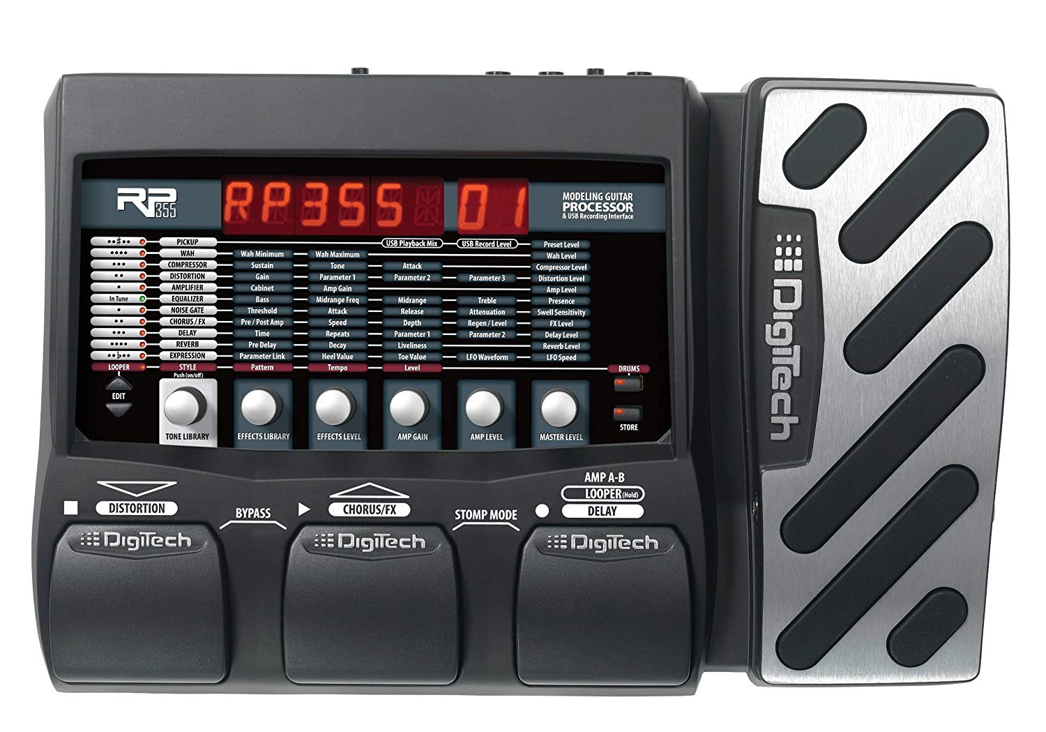 Amazon DigiTech RP355 Modeling Guitar Processor and USB Recording Interface Musical Instruments