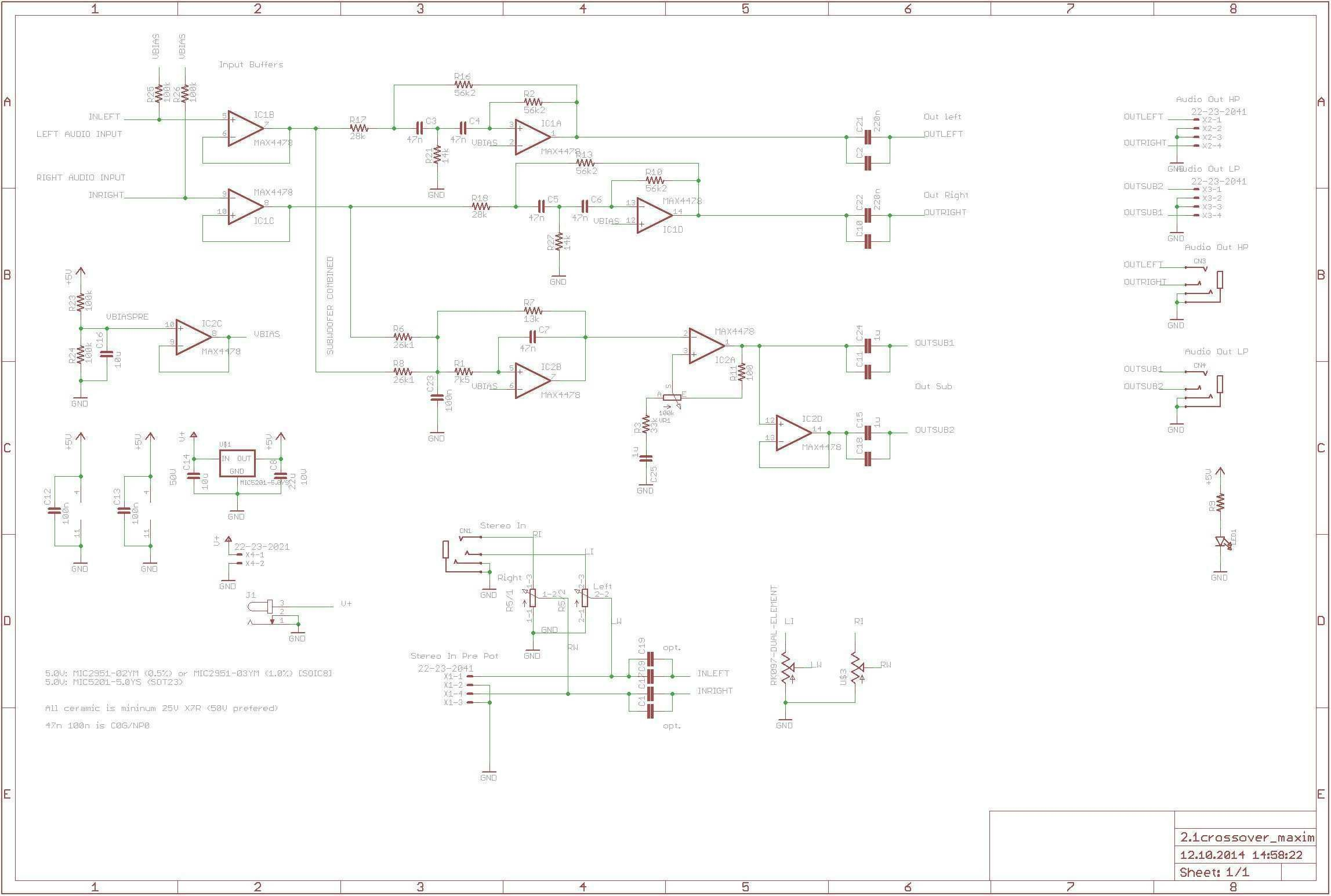Subwoofer Wiring Diagram Aktive Crossoverfrequenzweiche Mit Max4478 360customs Crossover Schematic Rev 0d Wiring Lighting Circuit
