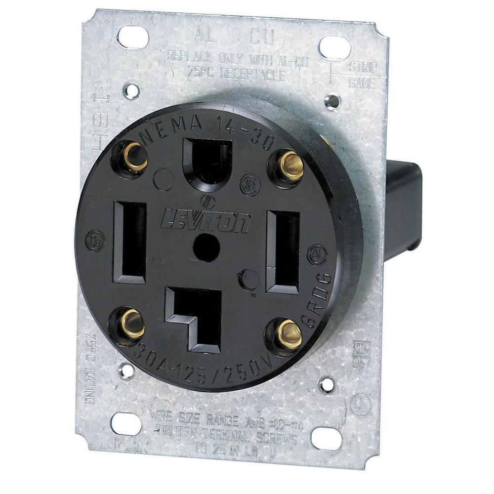 Leviton 30 Amp Industrial Flush Mount Shallow Single Outlet Black