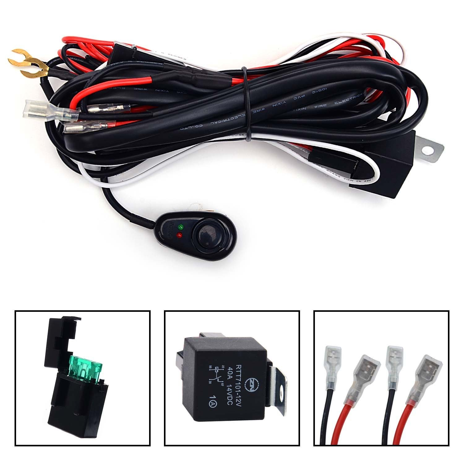 KAWELL Universal 2 lead LED Light Bar Wiring Harness Kit with Fuse Relay ON OFF Switch for LED froad Driving Light LED Lamp Fog Light Work Light 12V 40A