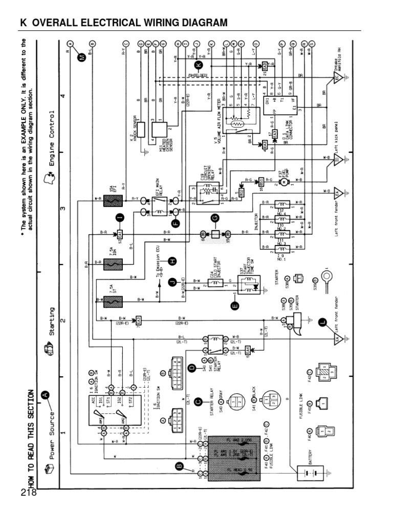 Toyota Coralla 1996 wiring diagram overall Toyota