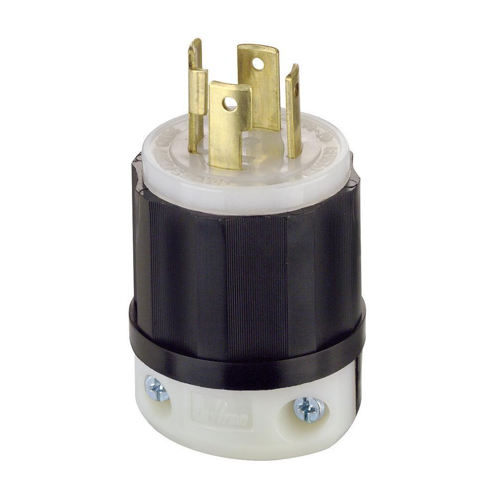 Leviton 30 Amp 125 250 Volt Locking Grounding Plug Black White