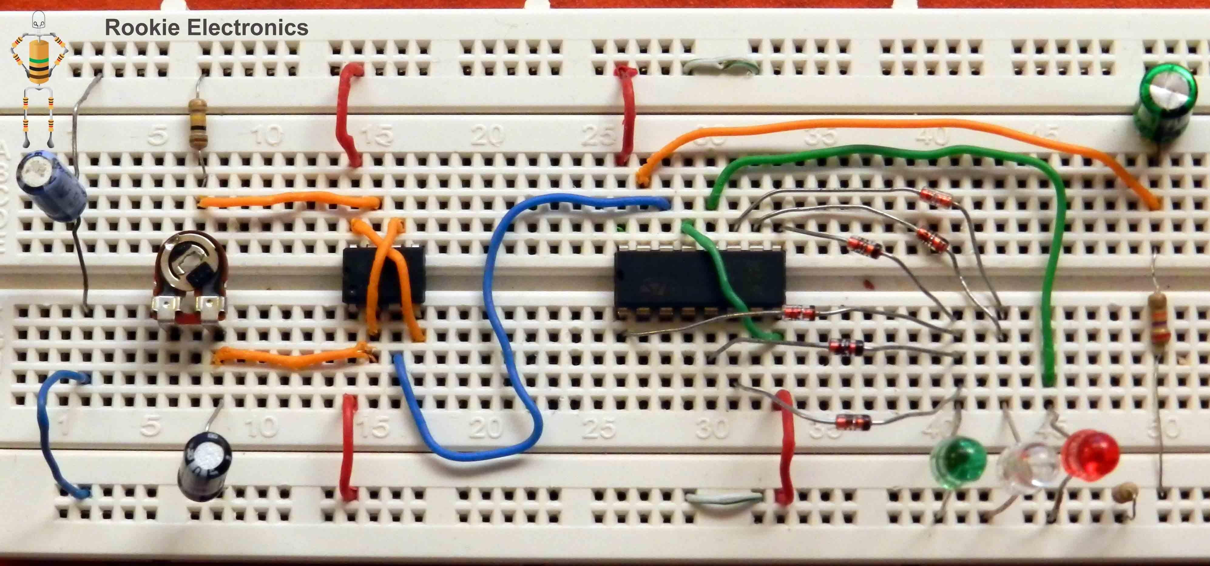 Traffic Lights using 4017 & 555 Timer Rookie Electronics