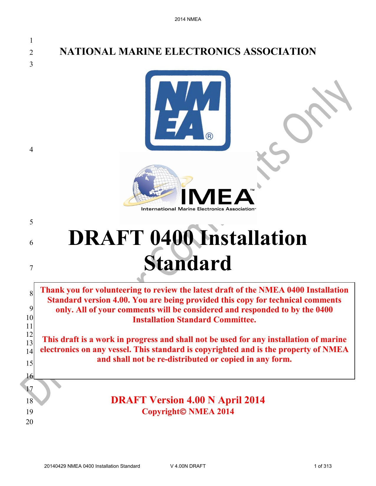 DRAFT 0400 Installation Standard National Marine Electronics
