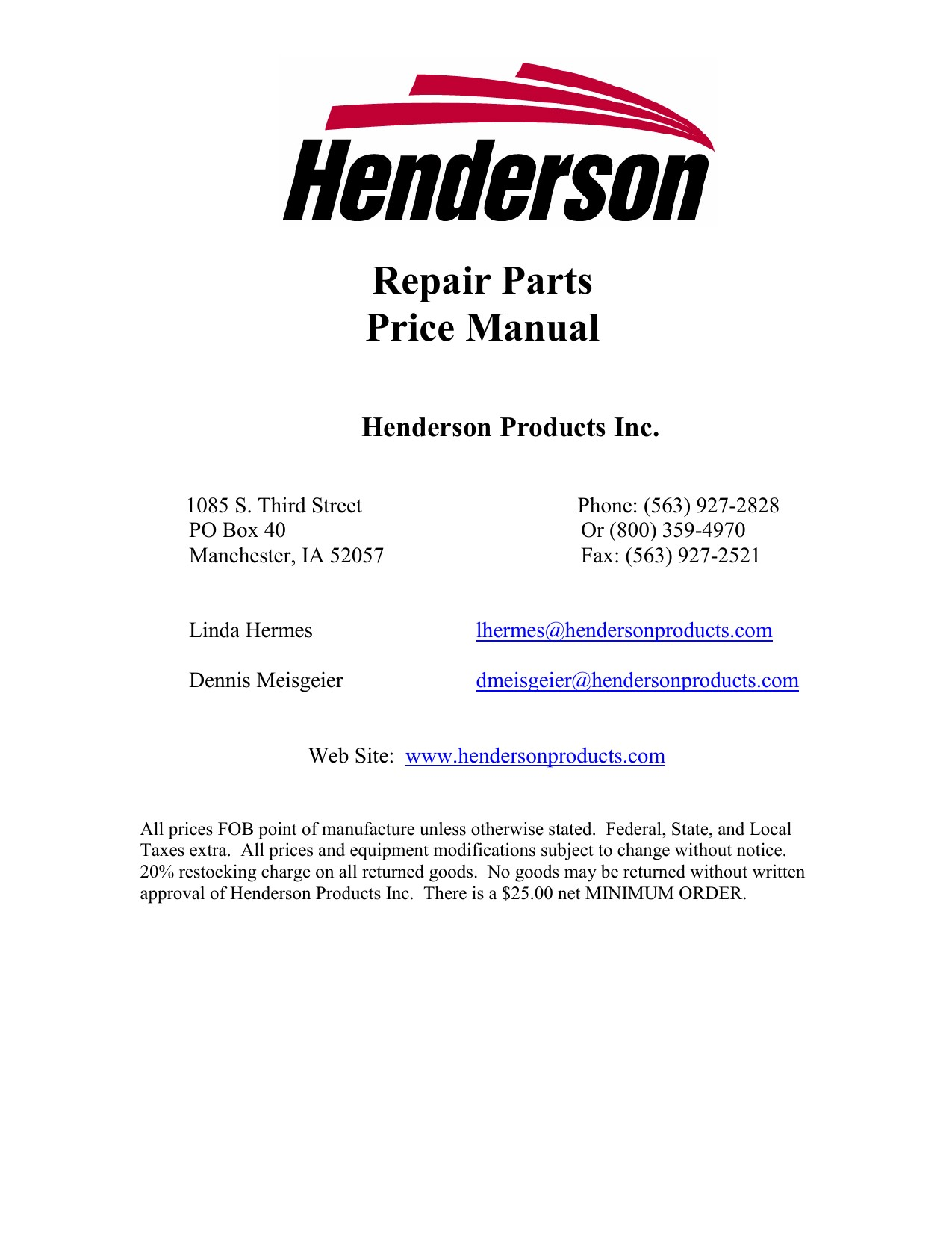 Repair Parts Price Manual Henderson Products Inc