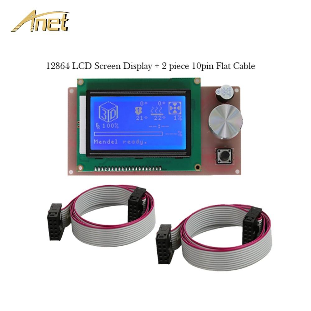 Anet 3D Printer Parts 2Pcs 10 Pin Flexible Flat Ribbon Cable LCD Smart Display Screen for A6 3d printer Reprap Prusa I3