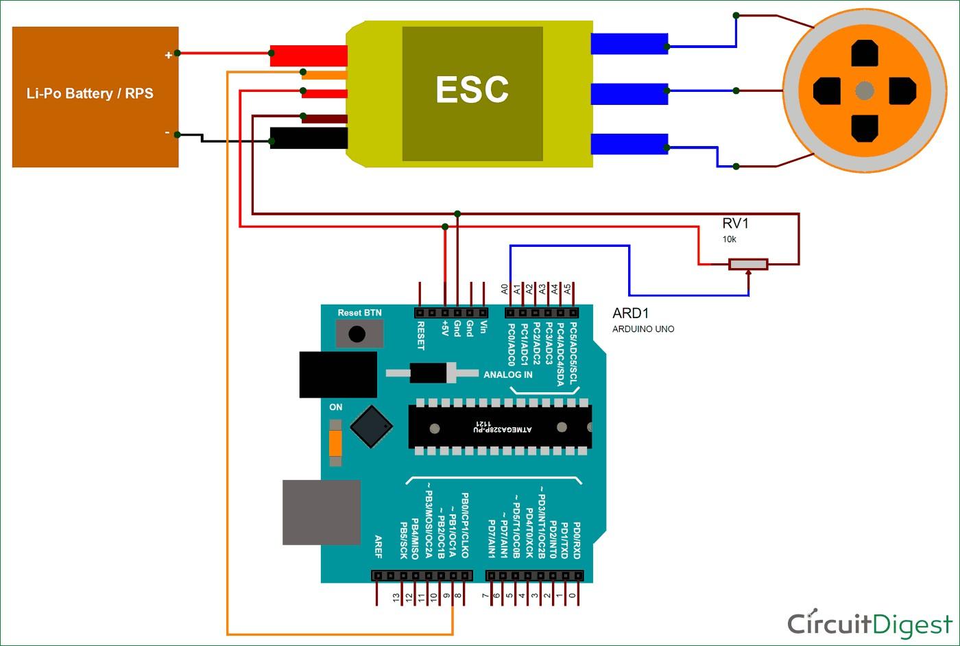 Circuit Diagram for Controlling Brushless DC motor using Arduino