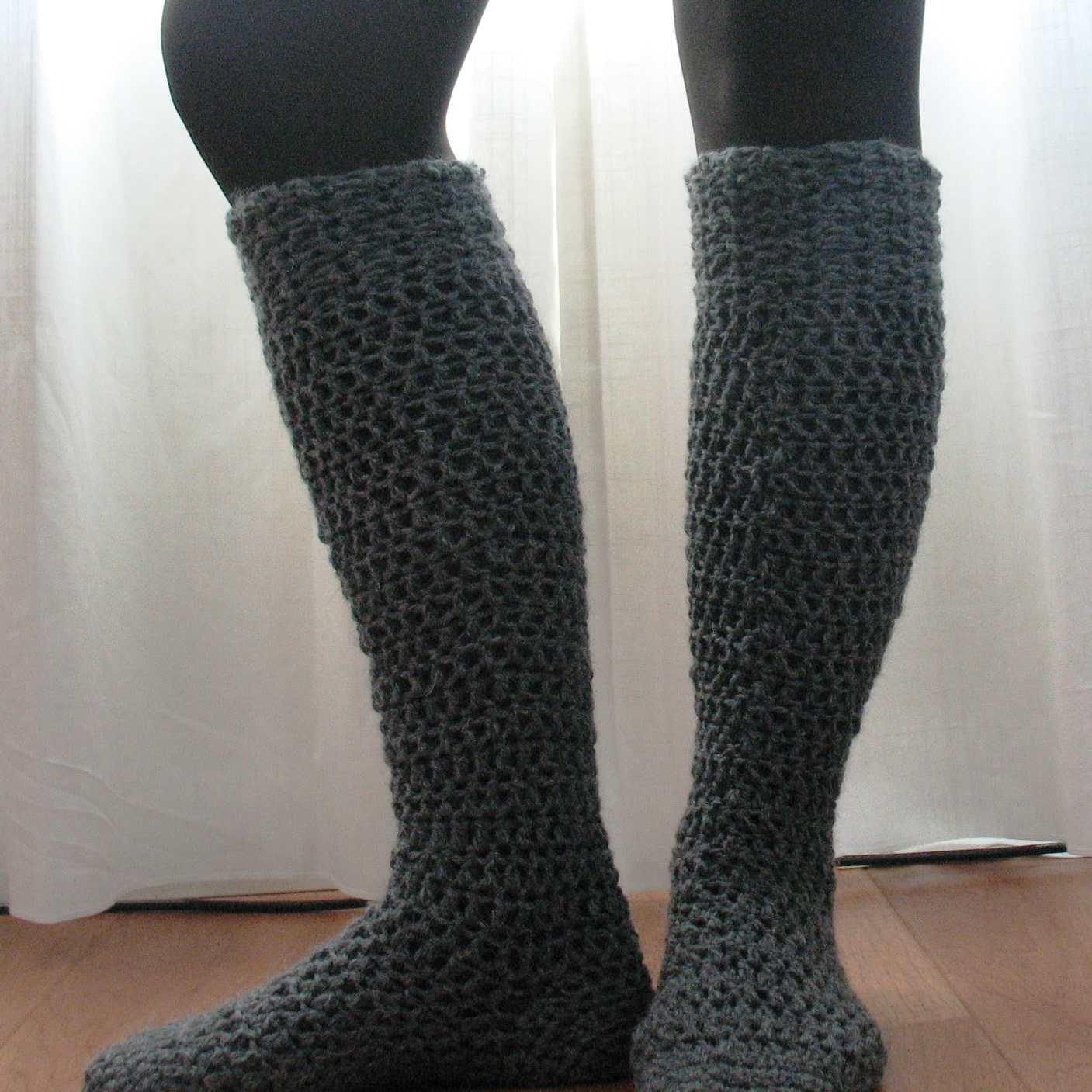 Knee High Boot Socks Free Crochet Pattern