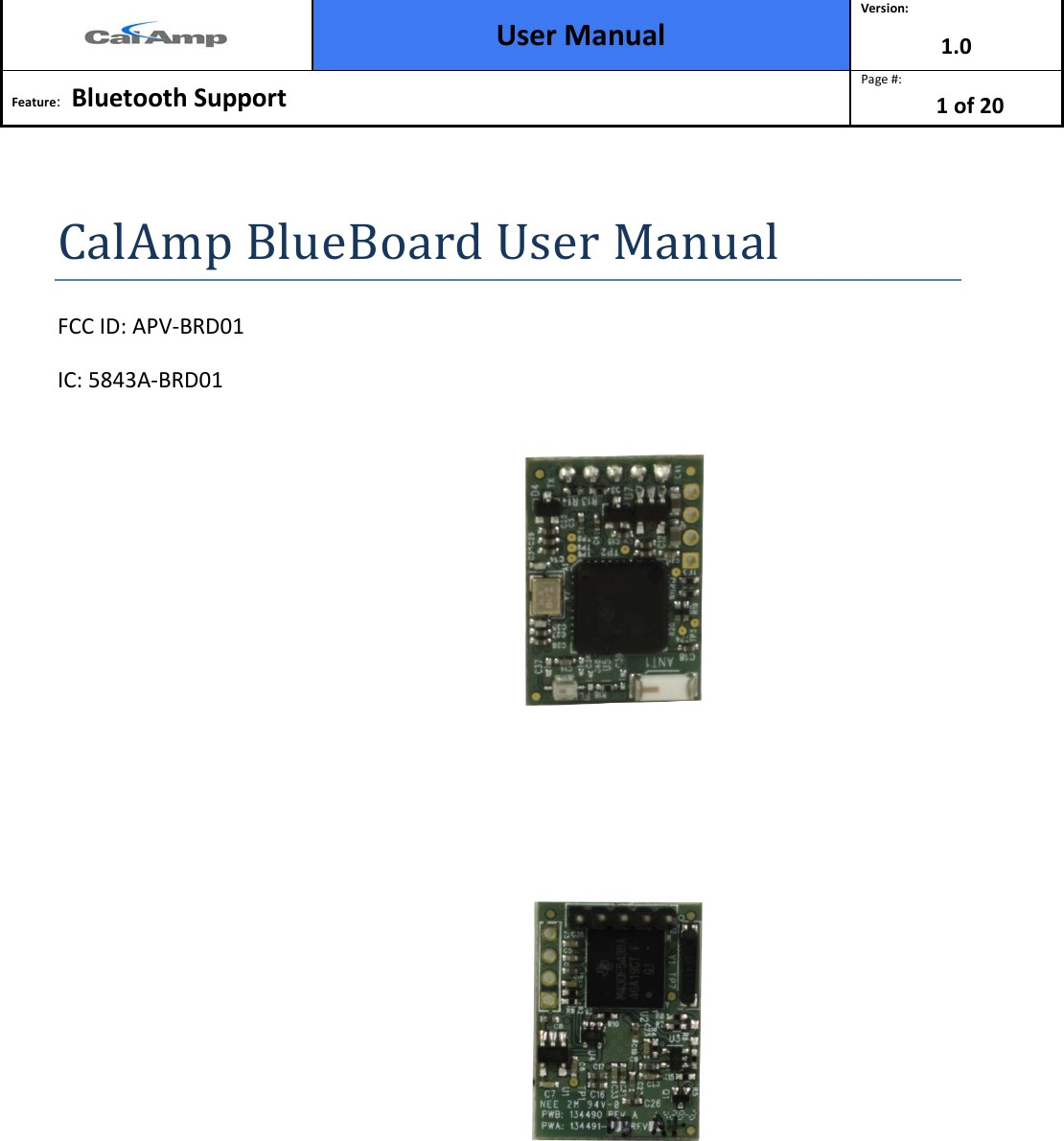 BDR01 Bluetooth and BTLE device User Manual Configuration App Note CalAmp