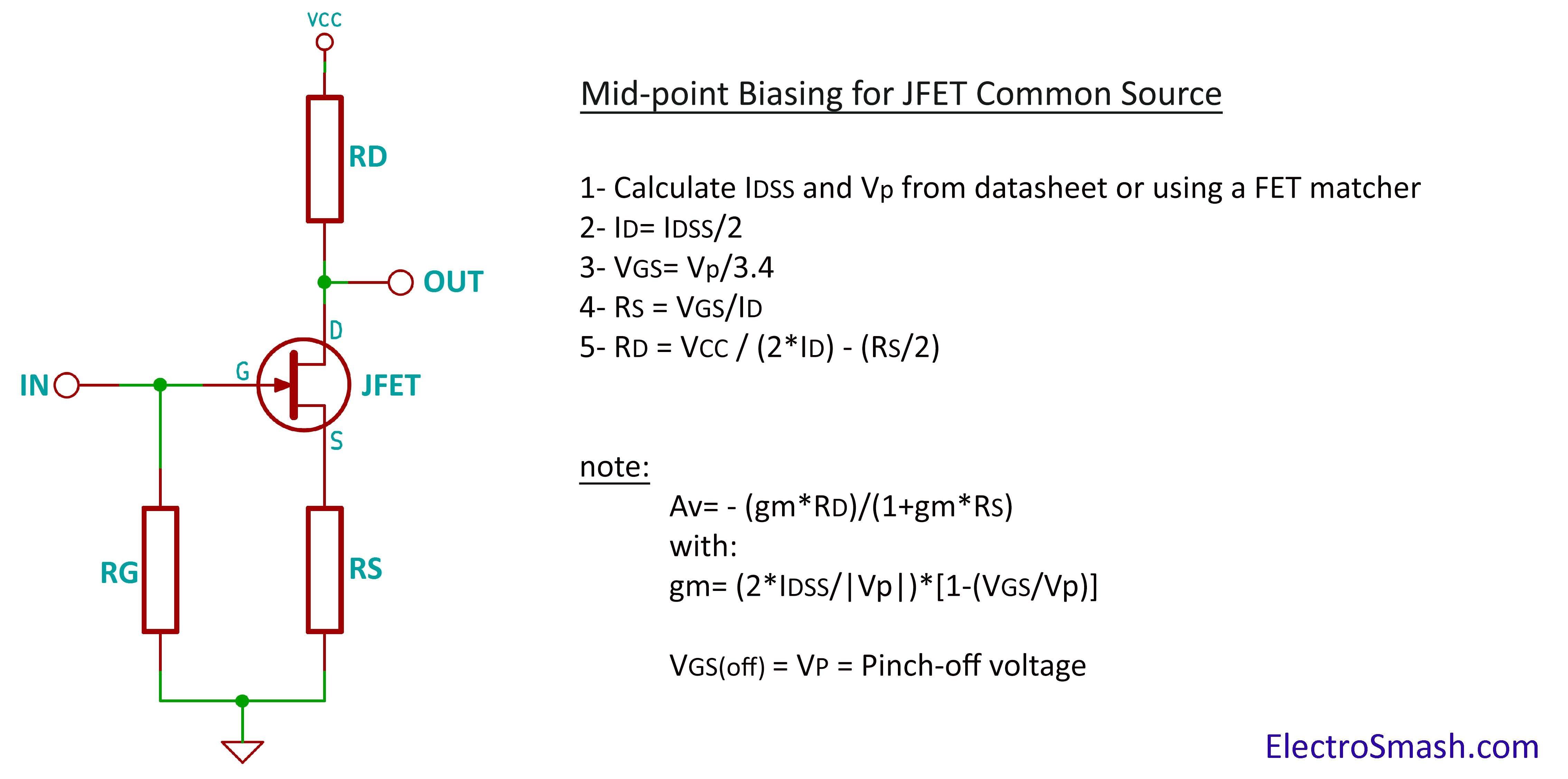 jfet amplifier calculation parameters