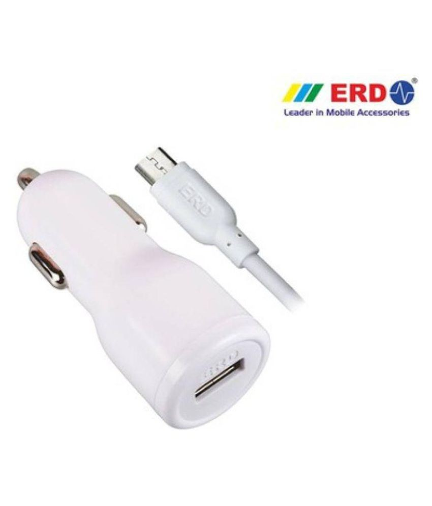 ERD CHARGER Car Mobile Charger 2 0 Amp Car Charger Whit USB Data Cable White