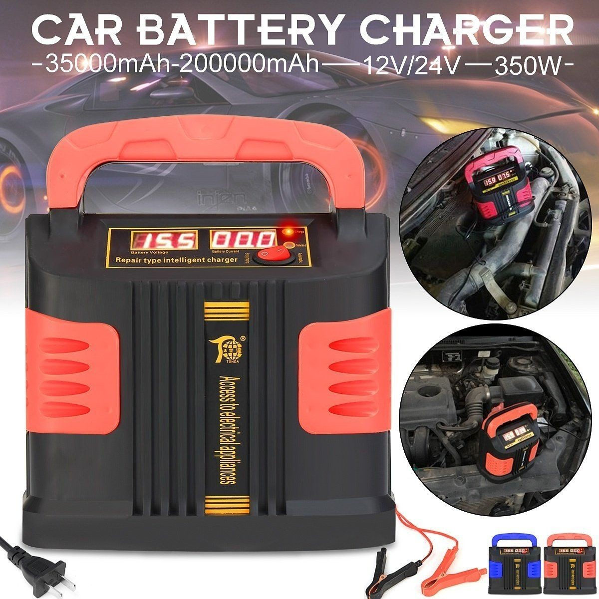 350W Automatic 12V 24V 200Ah Intelligent Pulse Repair Type Battery Electric 2 Modes Strong Automatic Charging Car Emergency Charger Booster Circuit