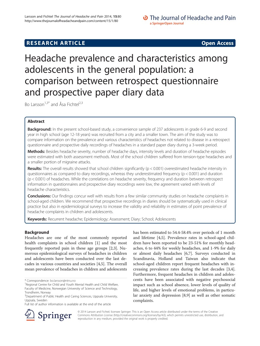 PDF Assessment of headache characteristics in a general adolescent population a parison between retrospective interviews and prospective diary