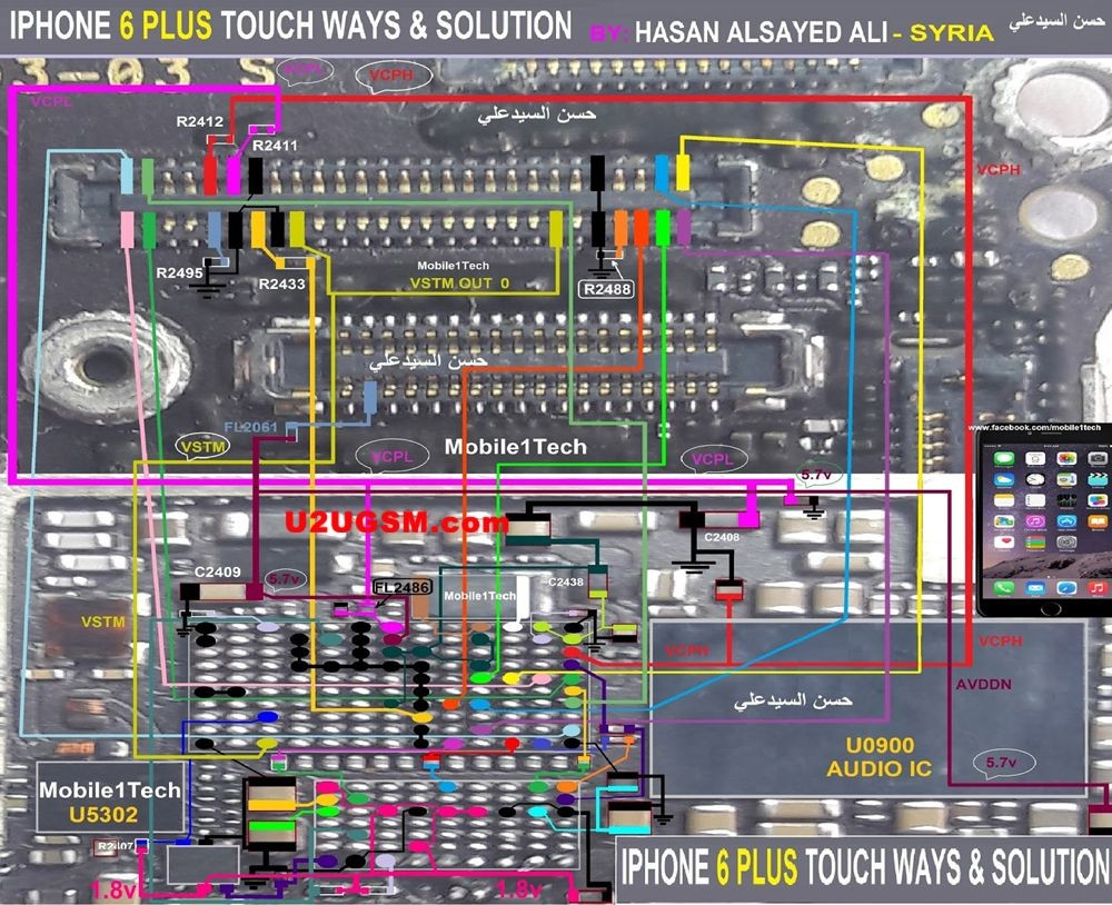 iPhone 6 Plus touch screen not working problem solution jumpers Check all these parts that are given in above diagram