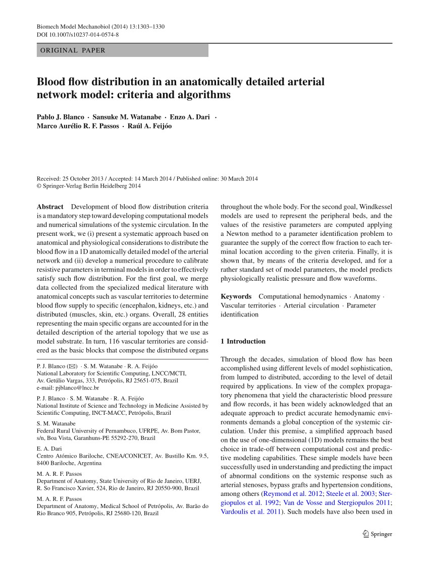 PDF Blood flow distribution in an anatomically detailed arterial network model criteria and algorithms