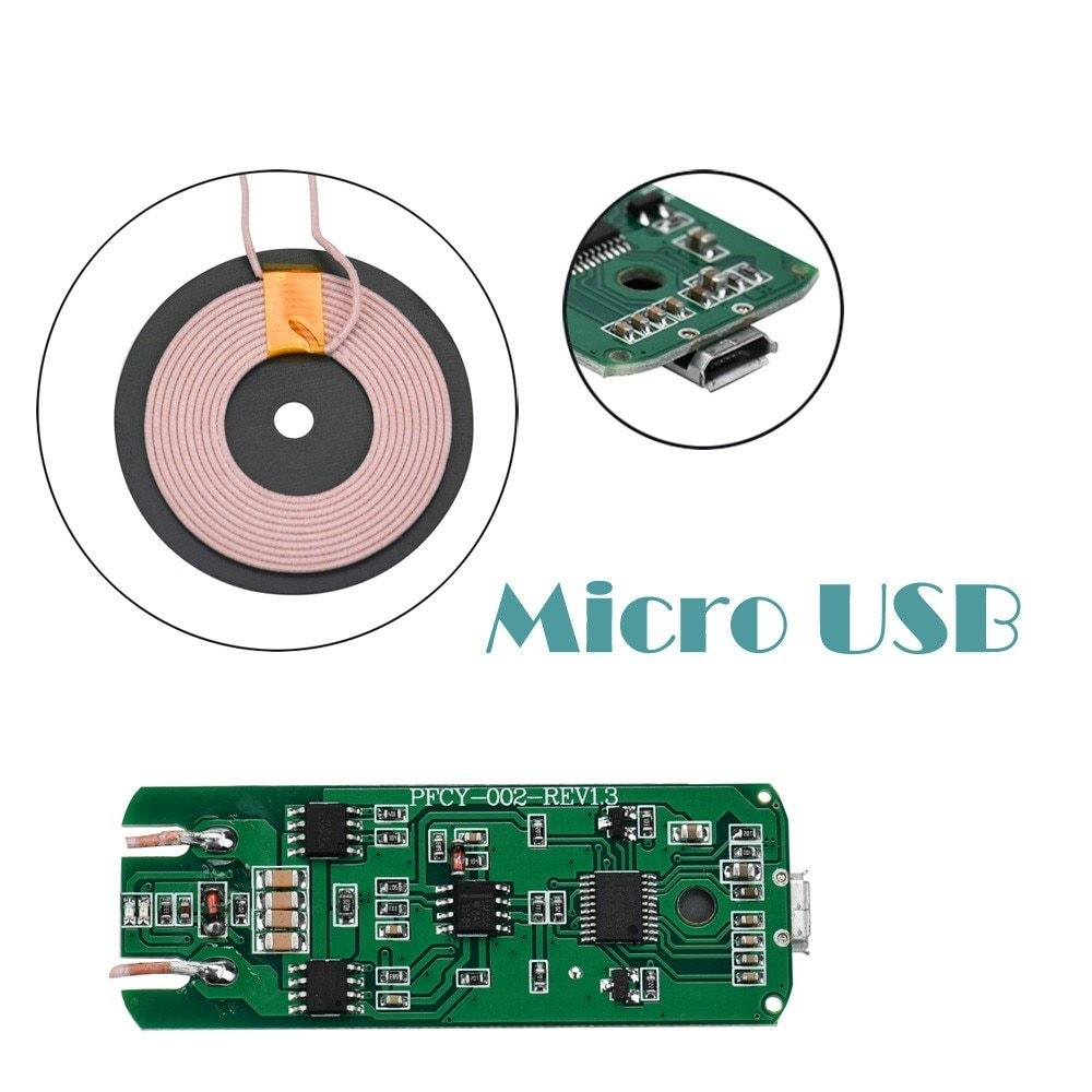 Generic new Qi Wireless Charger PCBA Circuit Board Coil Wireless Charging Micro USB Port DIY quick chargedrop shopping Black