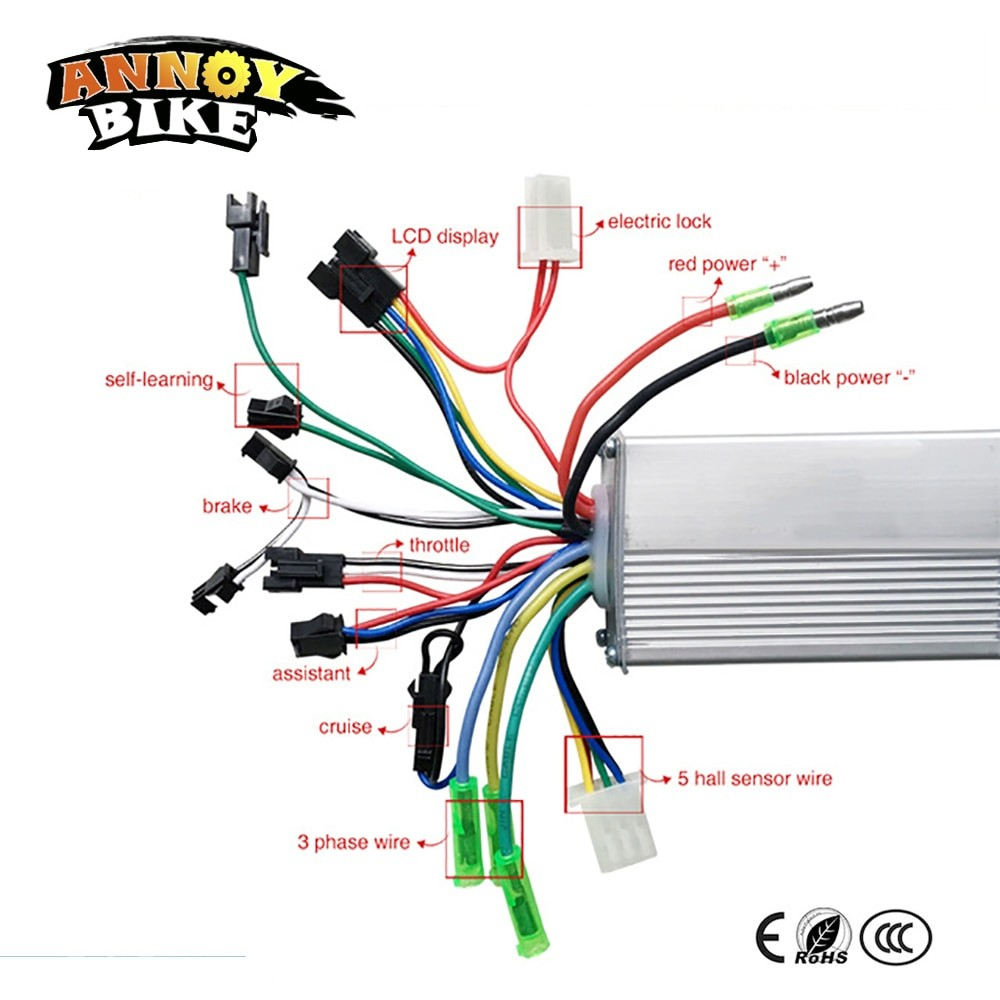 350W 36V 48V DC 6 MOFSET brushless controller BLDC controller E bike E scooter electric bicycle