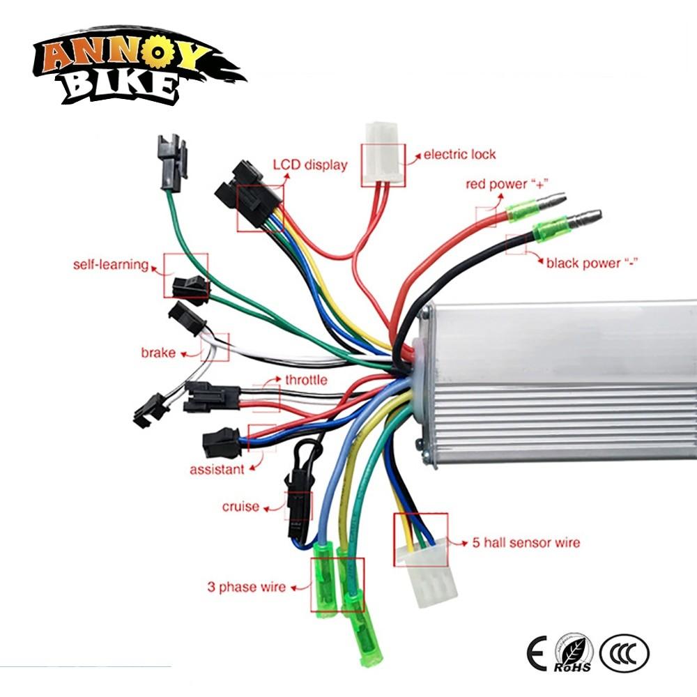 350W 36V 48V DC 6 MOFSET brushless controller BLDC controller E bike E
