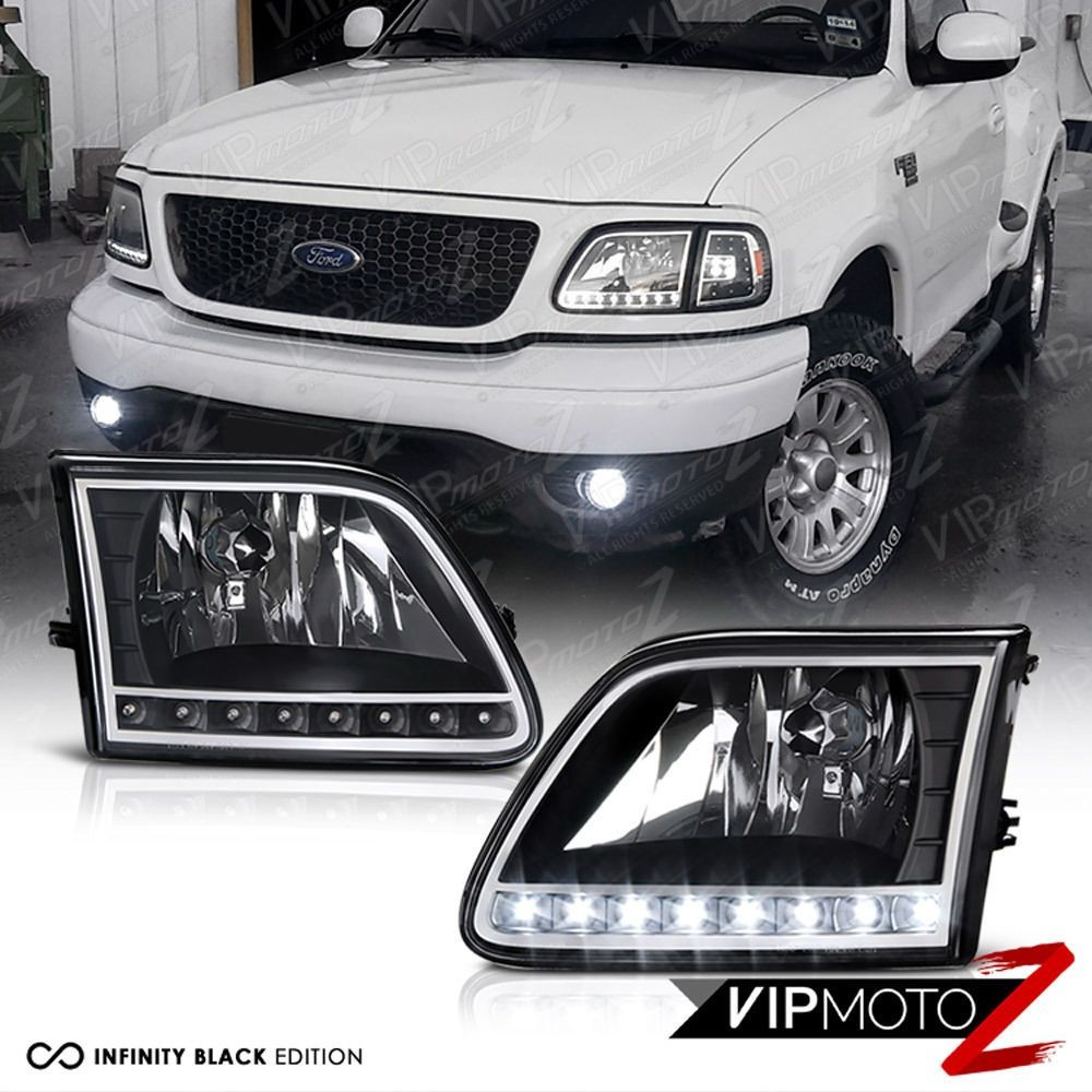 1997 2002 Ford Expedition 97 03 Ford F150 Black Crystal LED Front Headlights VIPMOTOZ
