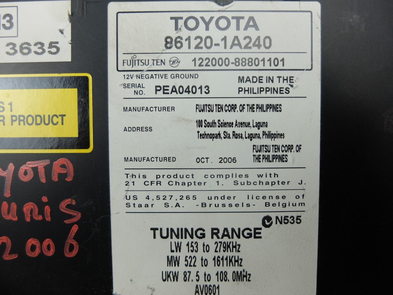 Radio Cd Mp3 Player Toyota Auris 1A240