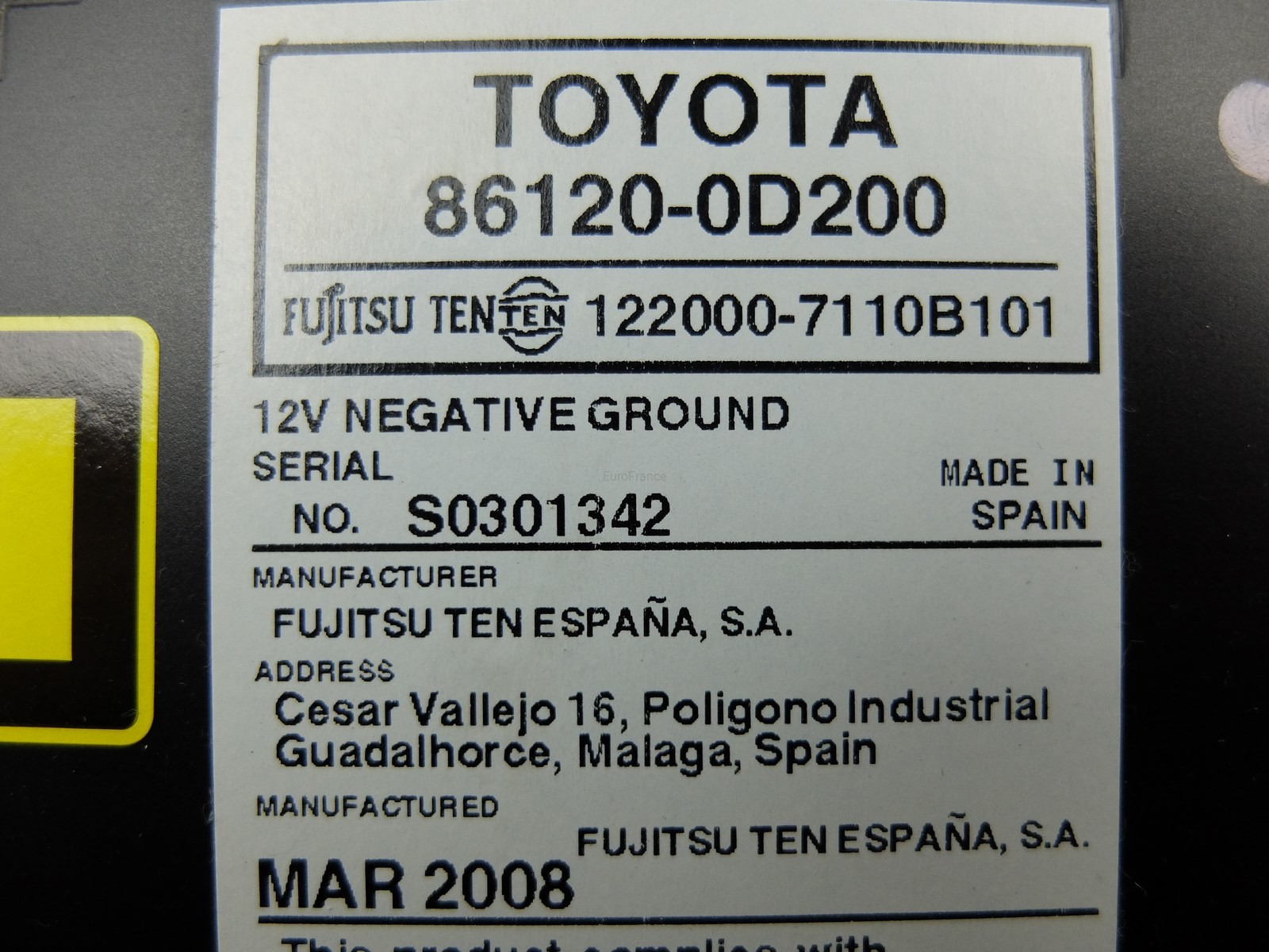 Cd Radio Player Toyota Yaris 0D200 7110B101