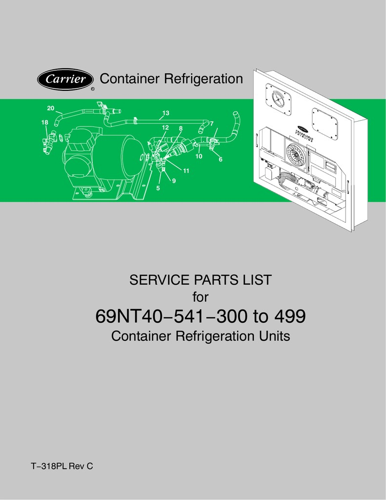 69NT40−541−300 to 499 Container Refrigeration SERVICE PARTS LIST for
