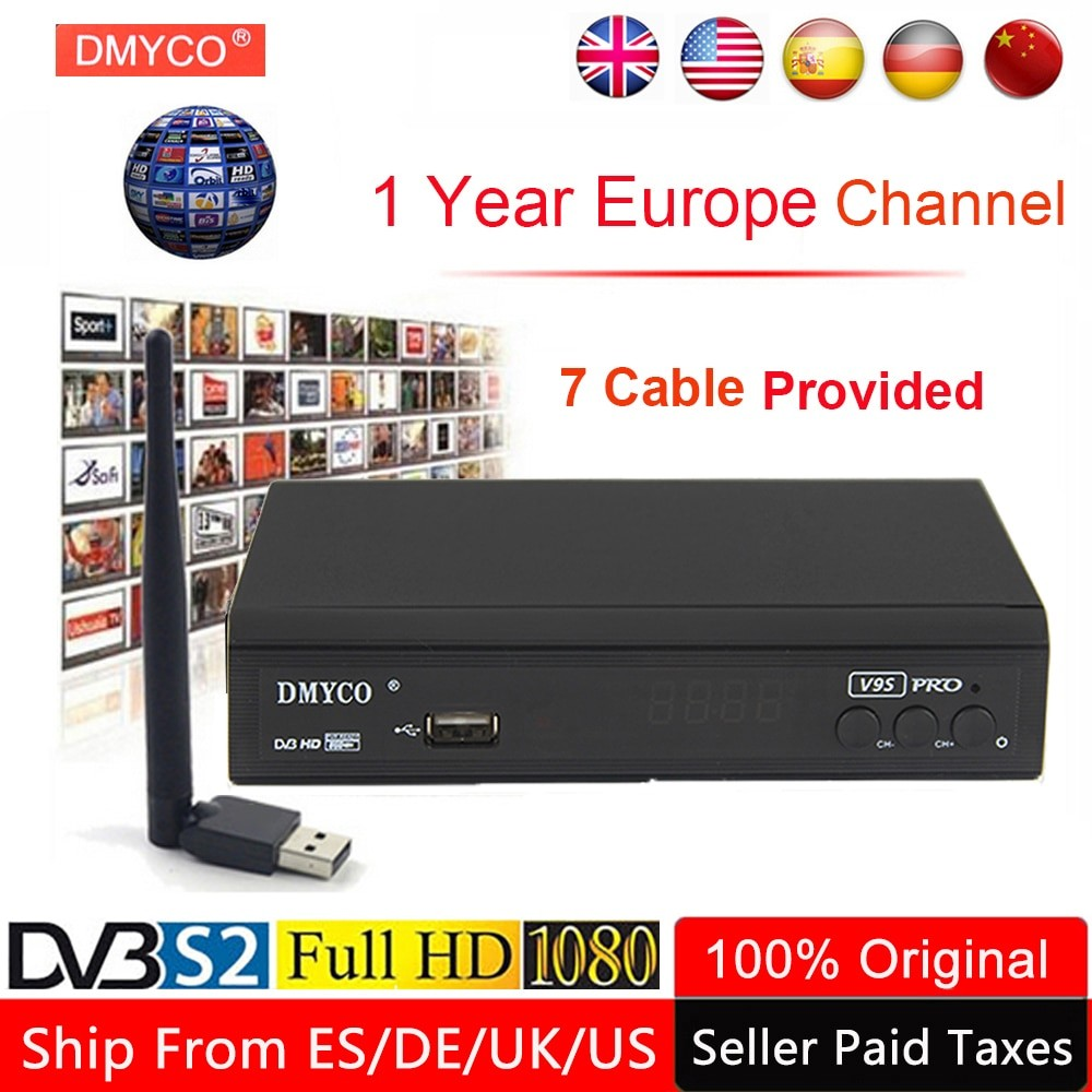 1 Year Europe Channel Server Satellite Receiver V9S Pro DVB S2 LNB TV Tuner Receptor 1080P
