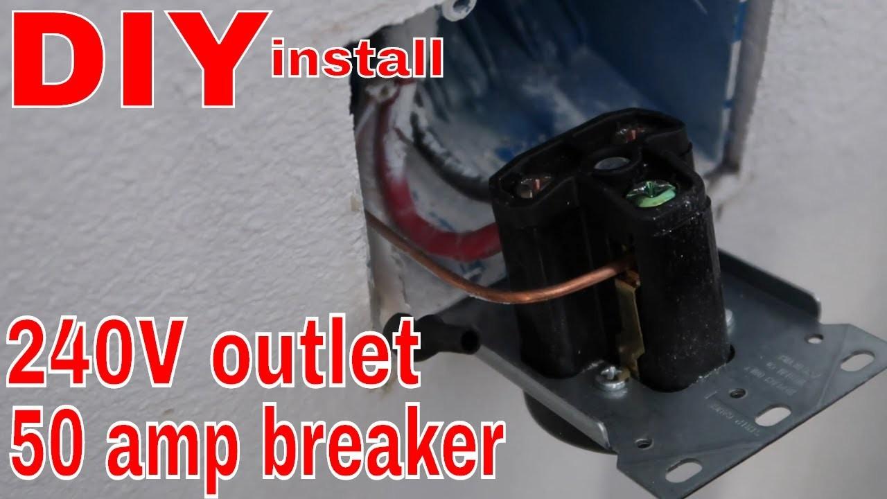DIY 240 Volt Outlet 50 Amp Breaker in my Home Workshop Easiest Install ever