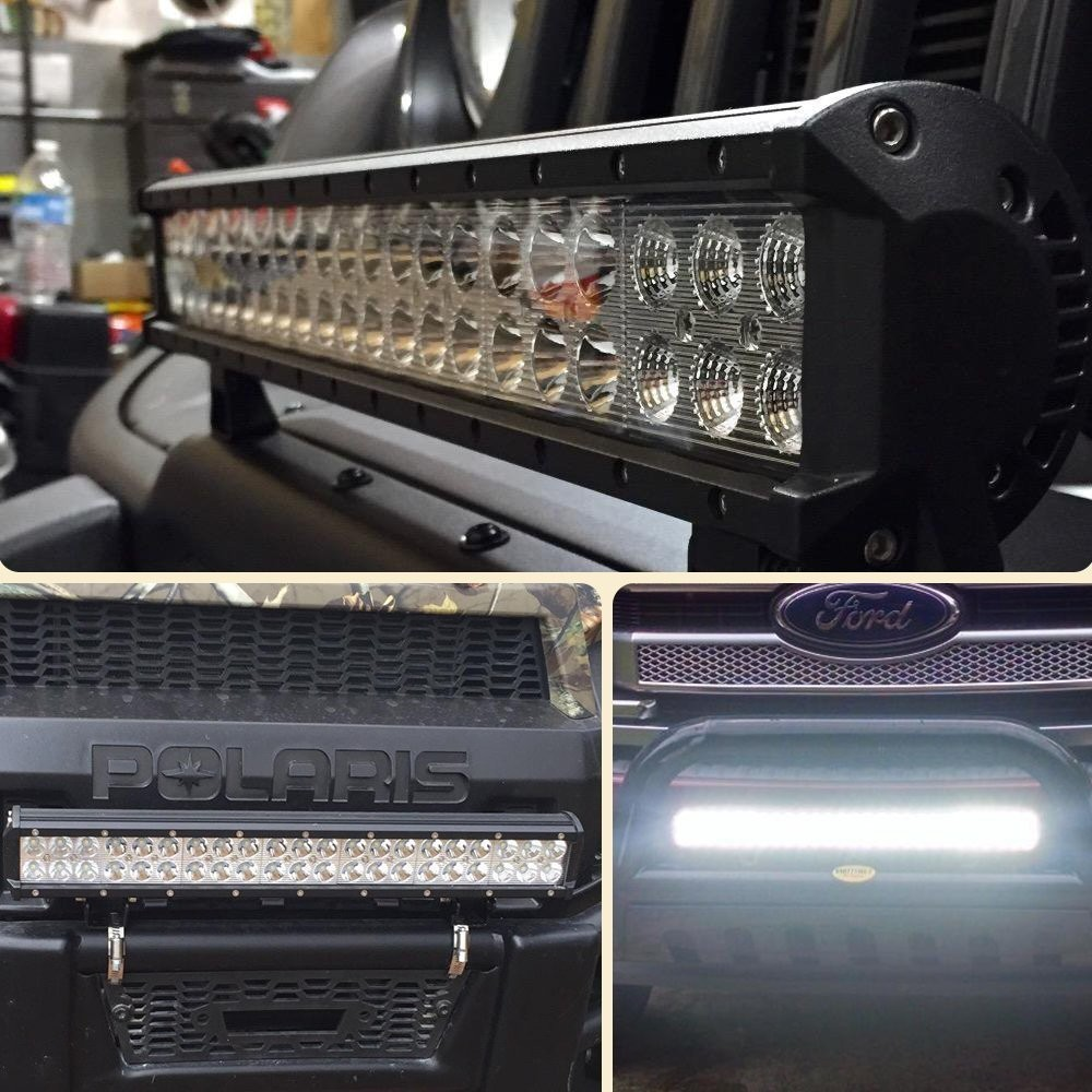 UNI FILTER 20Inch LED Light Bar 126W f Road Driving Lights w 2Pcs LED Work Light