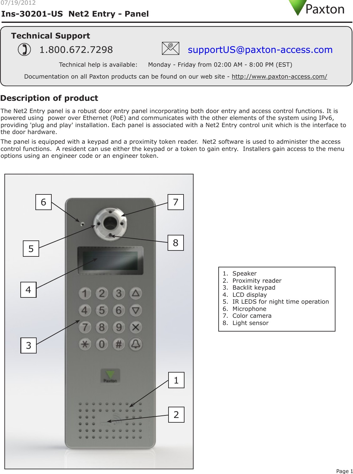 Net2 Entry Panel User Manual INSTRUCTION Net2 Entry Panel Paxton Access