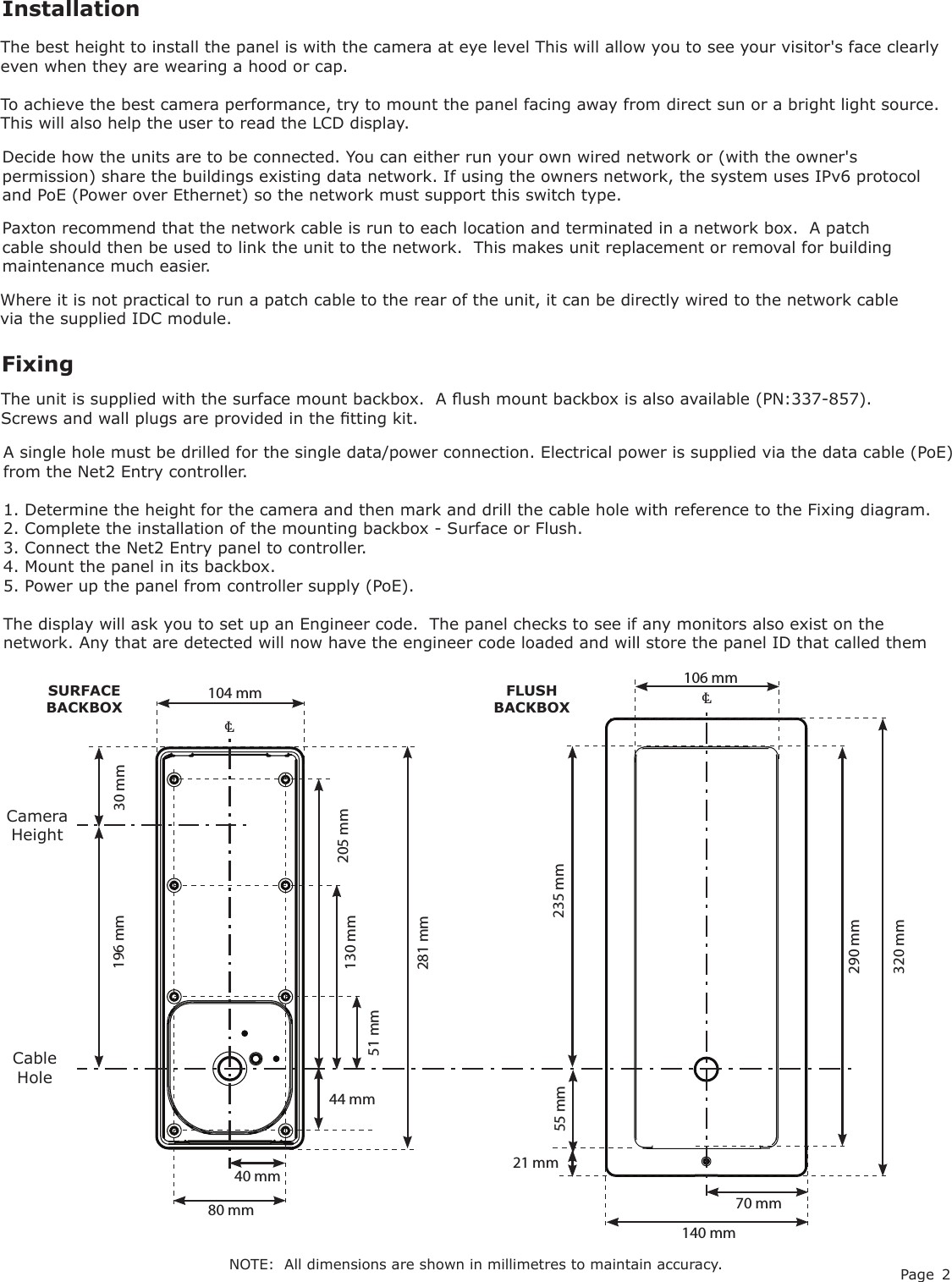 Page 2 of Net2 Entry Panel User Manual INSTRUCTION Net2 Entry Panel