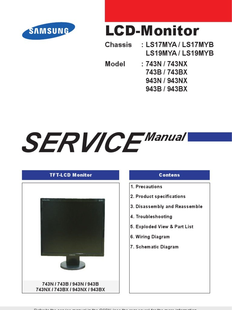 Samsung Monitor Lcd 743n 743b 943n 943b Chassis Ls17my Ls19my