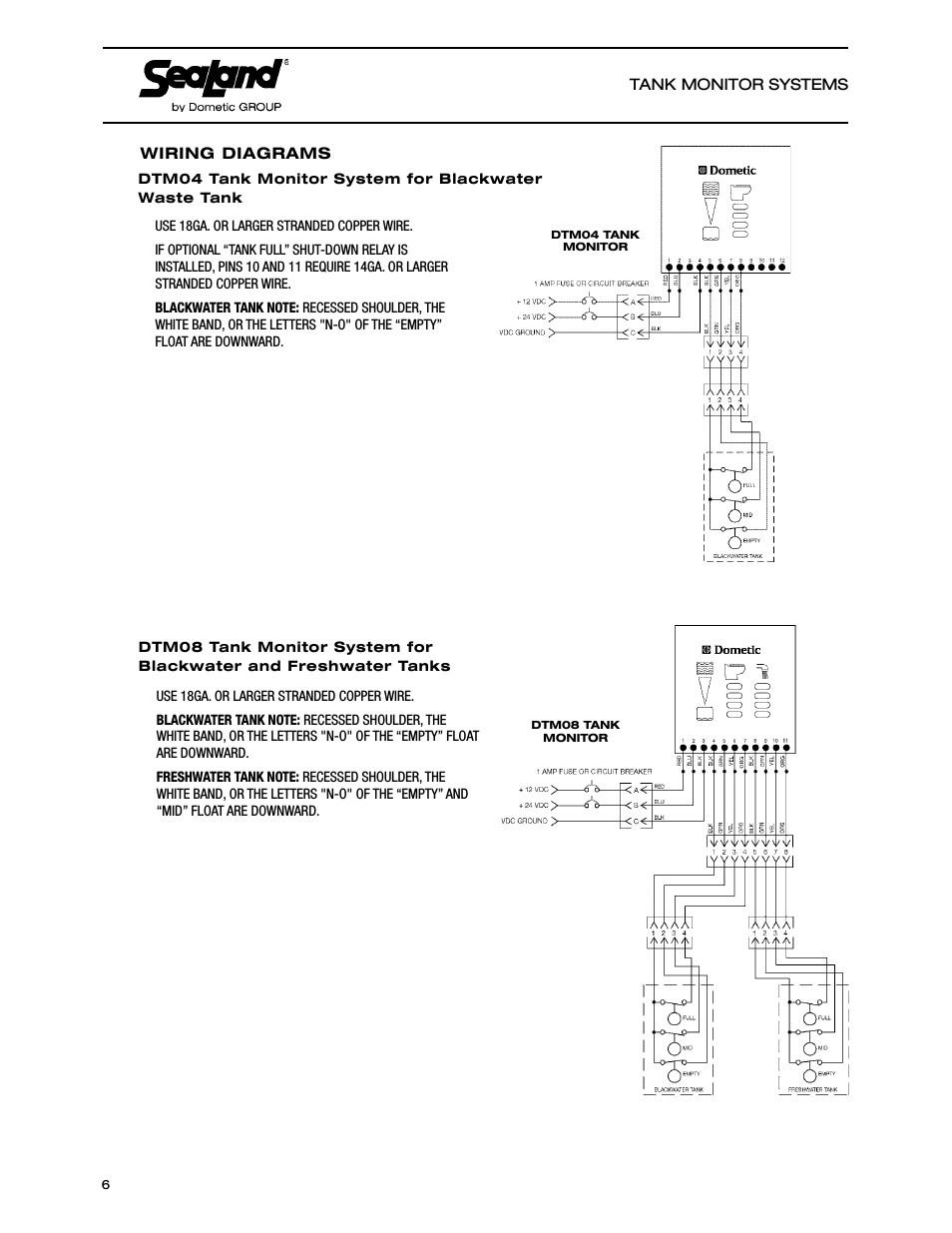 Wiring Diagrams Sealand Dtm04 Tank Monitor System Manual User Rv Tank Monitor Wiring Diagram