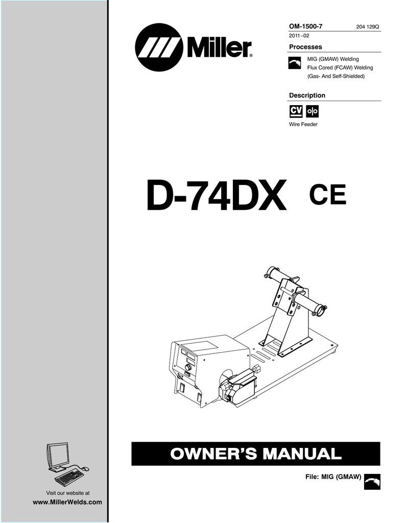 Miller Electric D 74DX Owner s manual