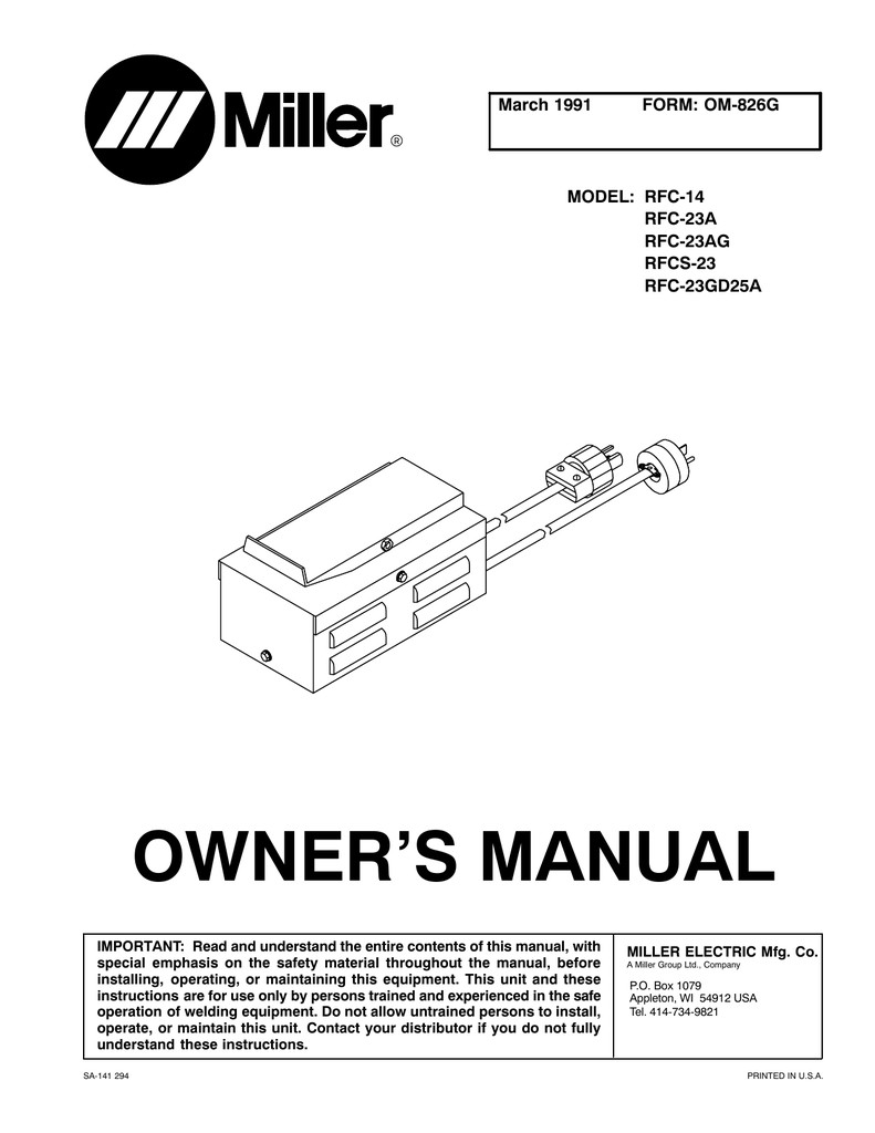 owner s manual Miller Welding