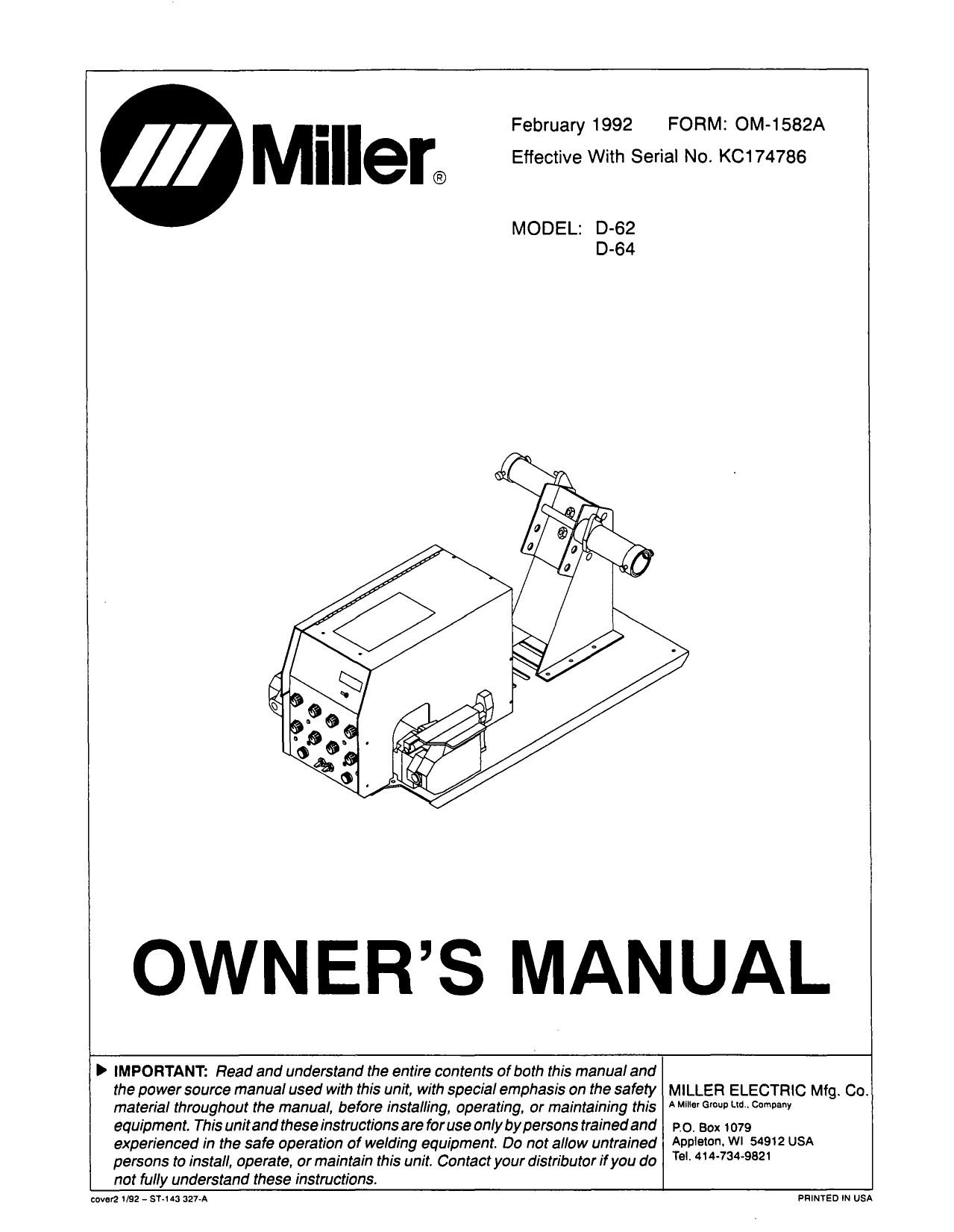 owners manual Miller Welding